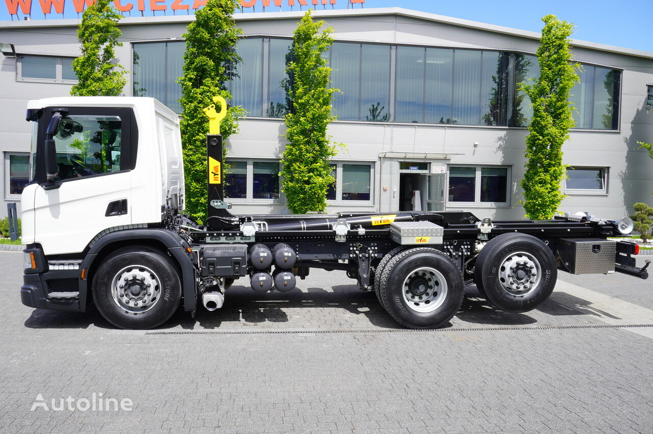 крюковой мультилифт SCANIA P410 , E6 , 6X2 , 60k km , NEW HOOK 20T , steer / lift axle , Lo